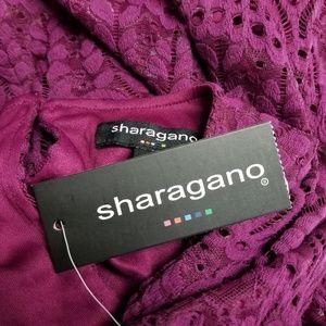 Sharagano Dresses - NEW Sharagano Berry Scalloped Hem Lace Dress